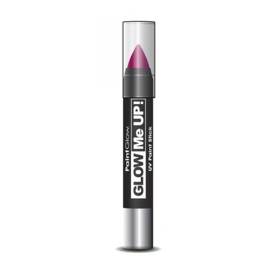 Glow in the dark make-up stift roze. Neon roze make-up stift voor het lichaam en het gezicht. Laad de make-up stift op met een felle lichtbron, zodat de verf fel oplicht in het donker. U kunt de make-up gemakkelijk en soepel aanbrengen en is ook weer makkelijk te verwijderen met water en zeep. Inhoud: 3 gram.
