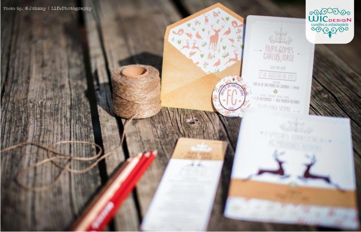 Estacionário do casamento inspiração rústico vintage + animais.  Wedding stationery rustic vintage.