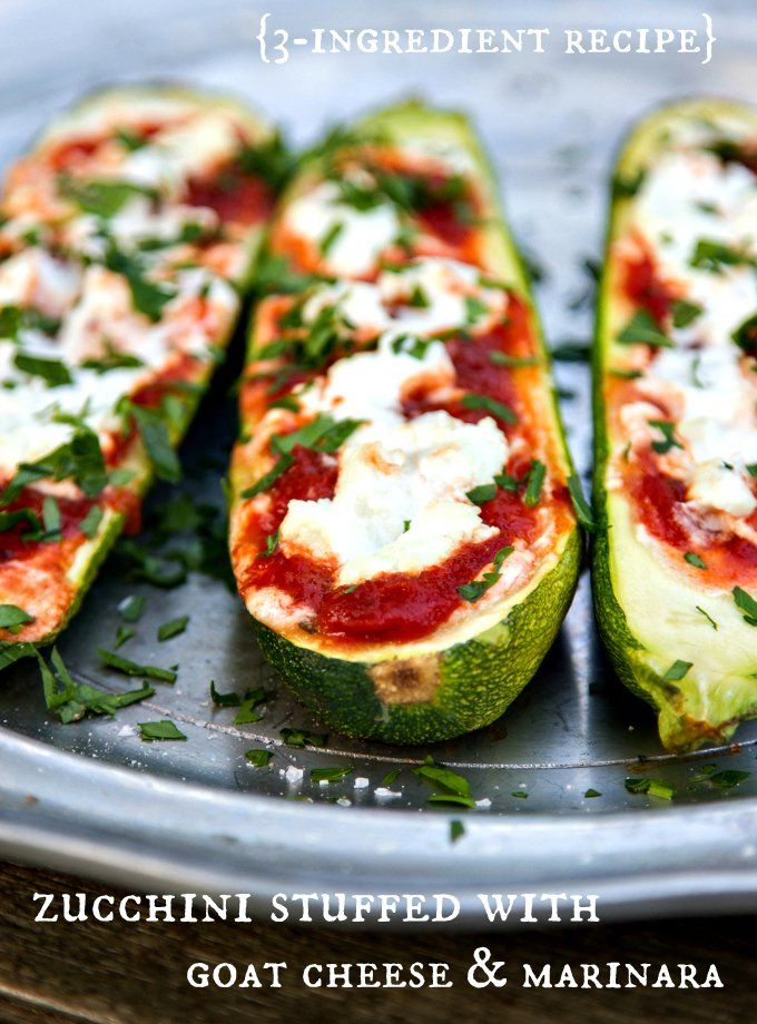 Stuffed Zucchini with goat cheese & marinara {3-ingredient recipe}
