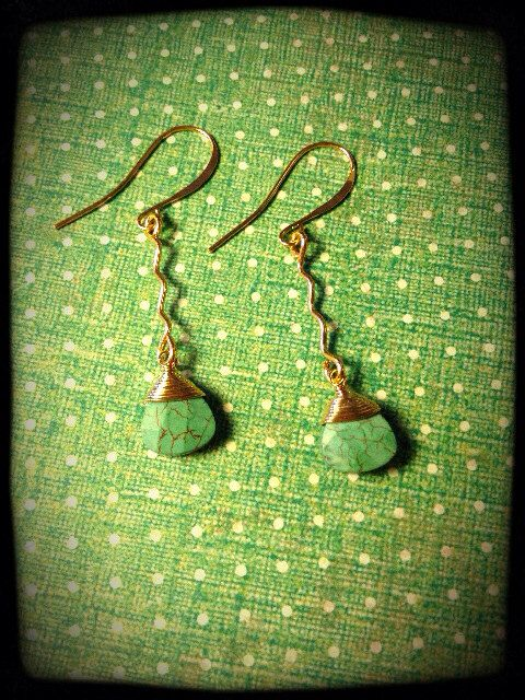 Green Turquoise Gemstone Drops on Etsy, $25.00 CAD