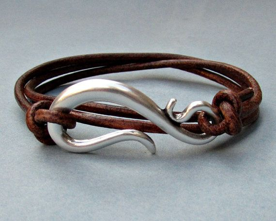 Silver Hook Mens Leather Bracelet Cuff Mens Nautical by GUSFREE