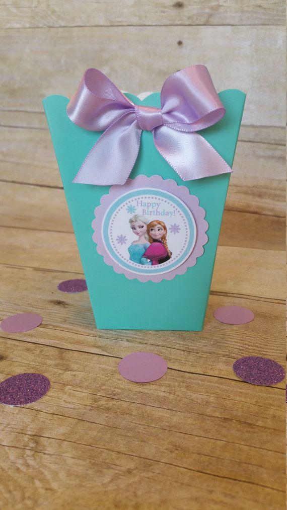 Caja de palomitas de maíz congelados Mini favor de parte de Elsa, cajas congelado partido, congelados cajas... Este precio es para una caja de palomitas Mini solo!!!!