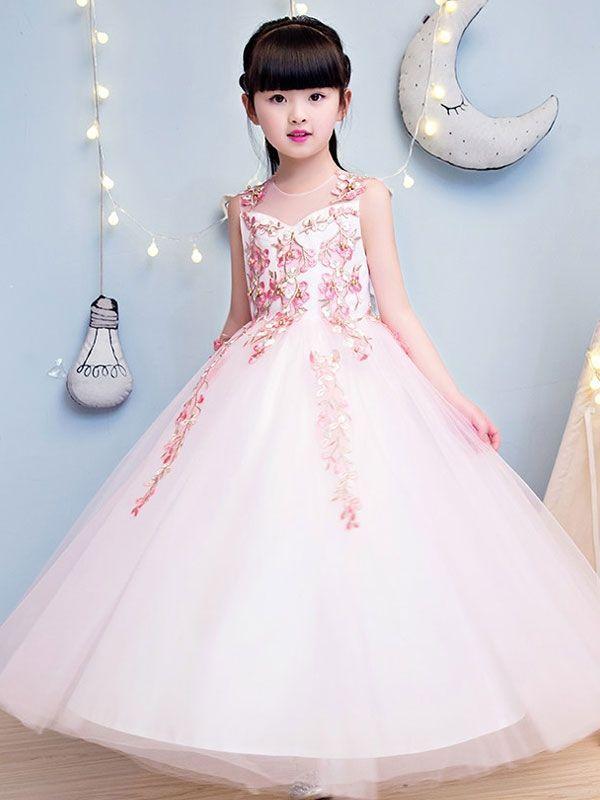 e04977cf1 Beading Embroidery Flowers Mesh Round Collar Sleeveless Long Dress ...