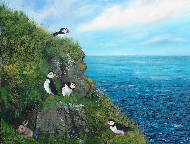 """peter brook paintings - Google Search """"A what? Where? Over there!"""" Shetland Puffins"""