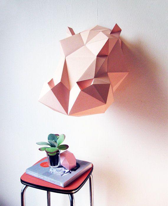 Paper Hippo Folding Kit van AssembliShop op Etsy, €25.00