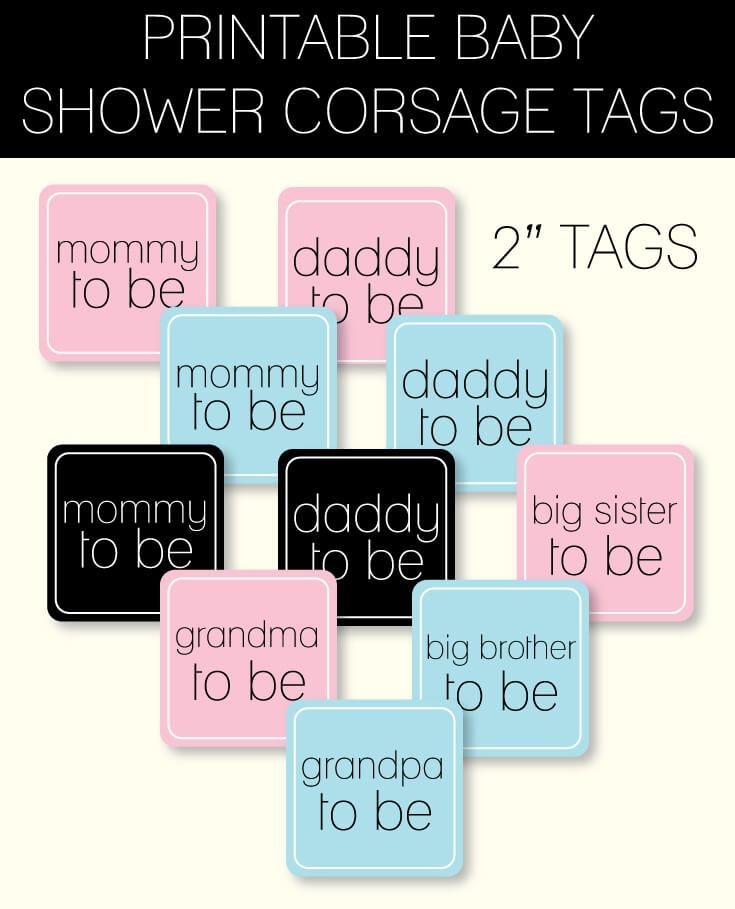 Printable baby shower corsage tags - DIY baby shower corsage ideas! So cute and easy!