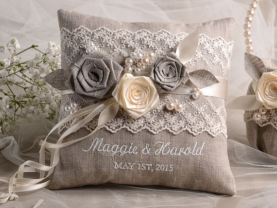Lace Wedding Pillow Ring Bearer Pillow Embroidery Names, shabby chic natural linen
