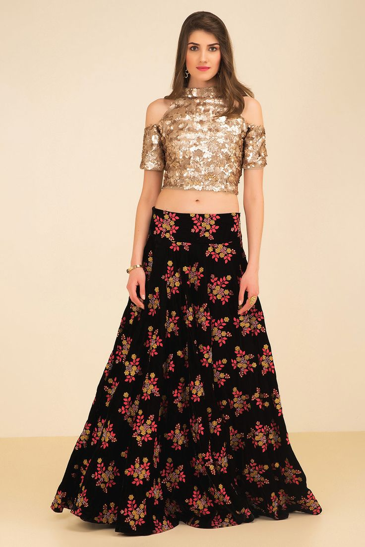 Rent THE STYLE LOFT BY RITU DEORA - Golden Sequin Cold Shoulder Crop Top With Embroidered Skirt.