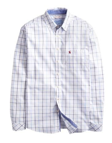 Joules Mens Classic Fit Shirt, Blue Overcheck. This shirt is perfect to reach for whenever a little smartness is required. Crafted in new lightweight cotton, it will be a trusty companion throughout the warmer months. Finished with chambray trims and a concealed button-down collar.