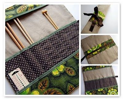 How to: make a knitting needle roll.  I really need to make this!  My needles are always poking through my plastic bags I carry them in.