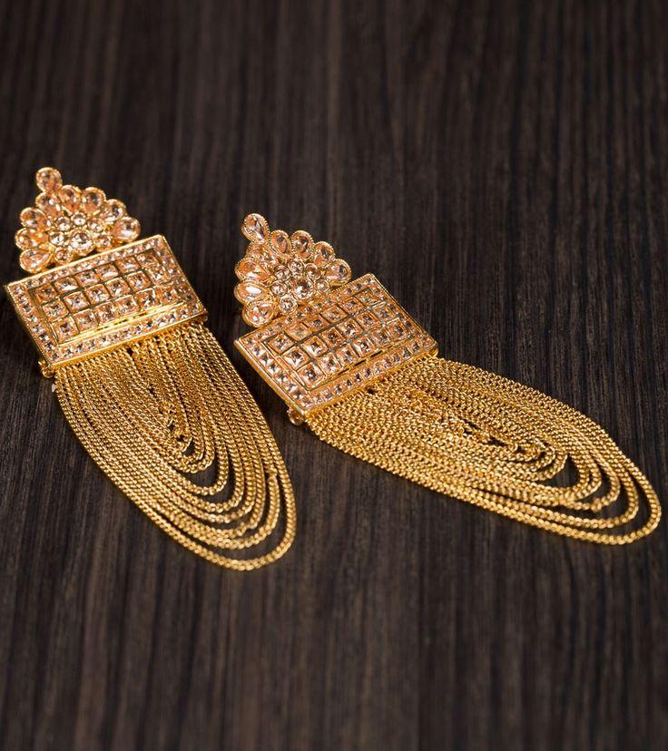 Golden Alloy Metal Kundan & Stone Embellished Earrings #indianroots #jewellery #earrings #stone #kundan #alloymetal #embellished