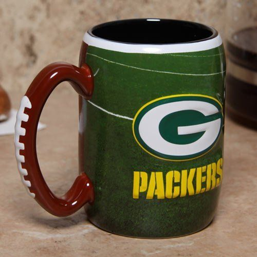 Green Bay Packers 16 Ounce Playing Field Sculpted Logo Relief Coffee Mug by Boelter Brands. $16.95. Holds approximately 16 ounces. Officially licensed. 3-D sculpted relief logo. Features vibrant team colors and logos. For the truly devoted fan, we are proud to present this officially licensed Green Bay Packers coffee mug from Boelter Brands. Now you can brighten up your office or home with your favorite NFL team's colors and logo while you enjoy your favorite b...