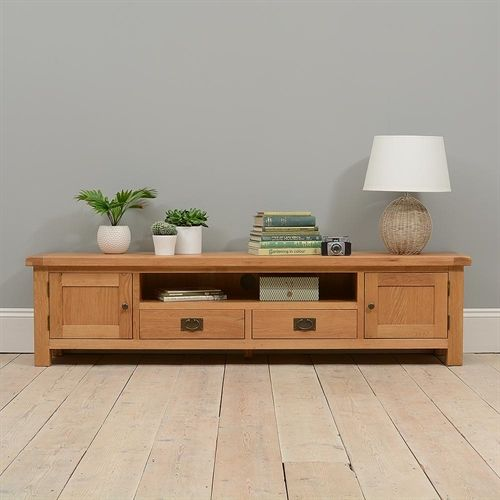 "Lyon Oak Low Wide TV Unit with 2 Doors - up to 70"" (P429) with Free Delivery 