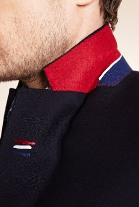 Red, white and blue collar melton on Luxury Pure Wool Single Breasted Blazer