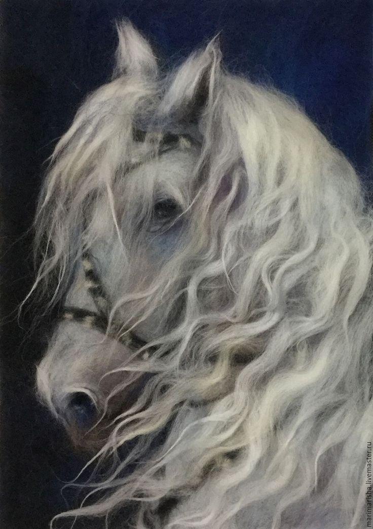 Купить Белый конь - белый, картина из шерсти, живопись шерстью, Живопись, шерстяная акварель