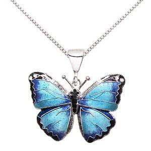 Sterling Silver Cloisonne Blue Morpho Butterfly Necklace