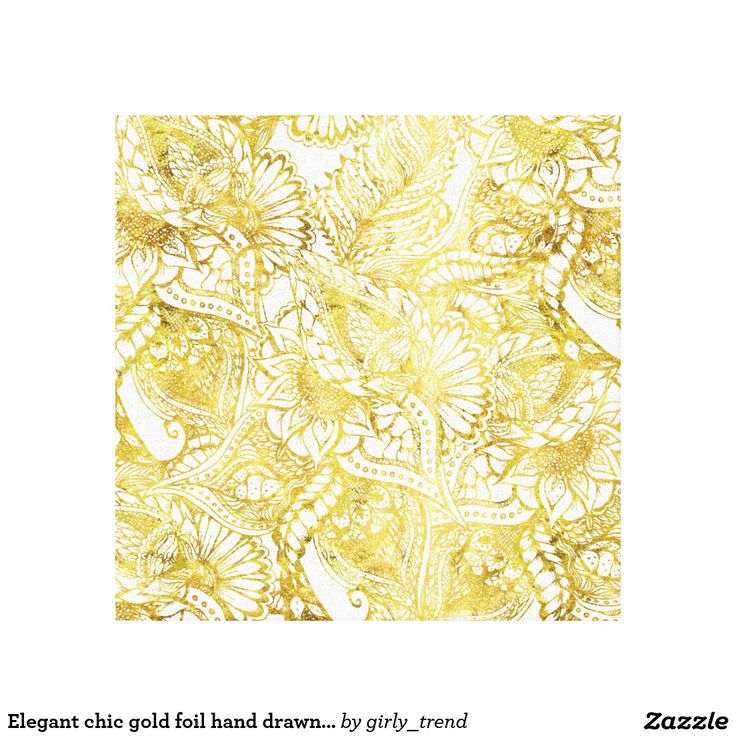 Elegant chic gold foil hand drawn floral pattern canvas print