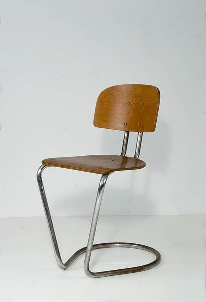 Theo de Wit; Chromed Steel and Plywood Chair for Ems, c1935.
