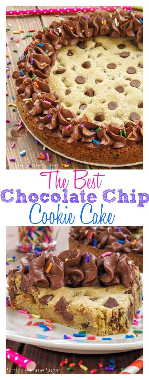 The Best Chocolate Chip Cookie Cake. Ultra soft, ultra chewy and ultra delicious, this is the best cookie cake you will ever make. Complete with a silky ganache frosting!