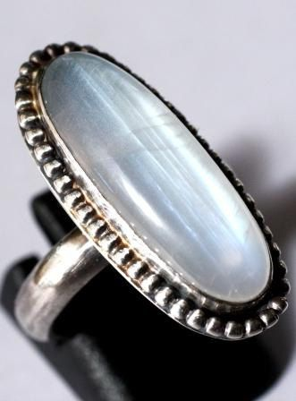Georgeous Blue moonstone ring Size 7 set in by SilverSpiral1, $52.00