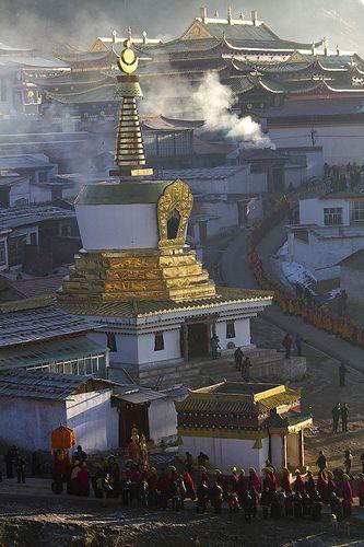 Morning procession, Langmusi, Gansu Province, China