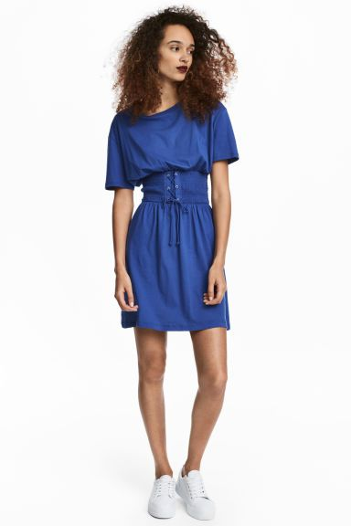 T-shirt dress with lacing - Bright blue - Ladies | H&M CA