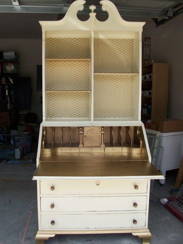 Antique Secretary Painted Cream With Gold Interior And