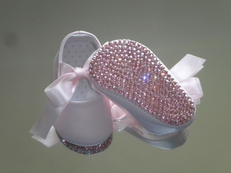 Princess Bling Baby Shoes with Satin Ribbon & Swarovski Rhinestones