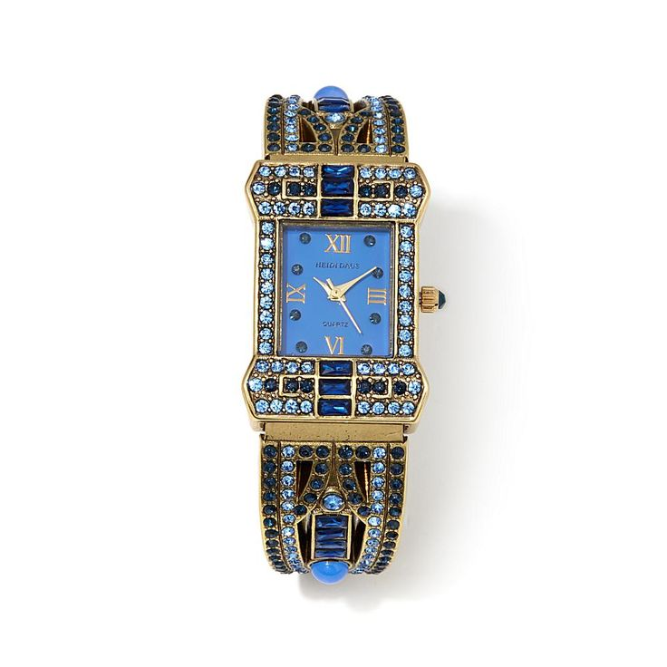 "Heidi Daus ""Sparkling Opulence"" Crystal-Accented Cuff Watch - Blue"
