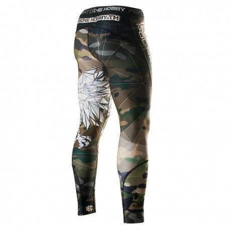 Leggings for men POLSKA. Color: camo. Leggings are made of high quality material. Moisture-wicking fabric - leaves the body dry and hot. Sublimated pattern is not destroyed. Special rubber waist leggings prevents slipping during the fight.