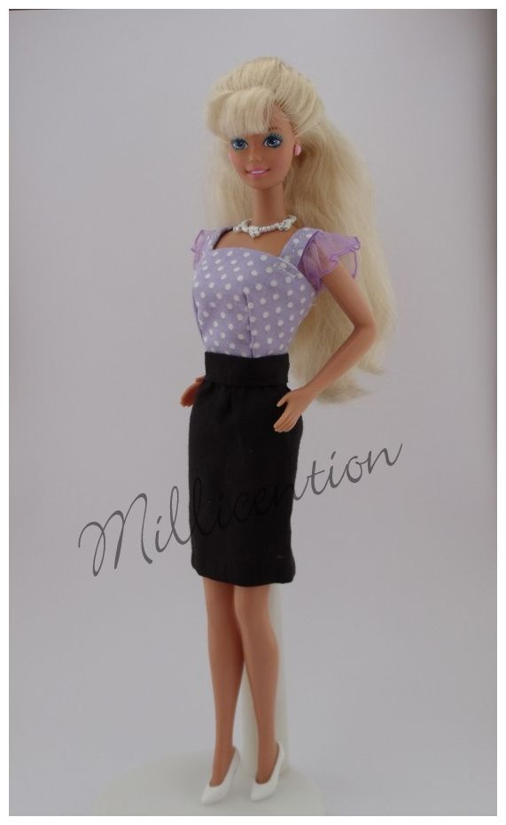 Lilac polka dot Barbie doll top & pencil skirt