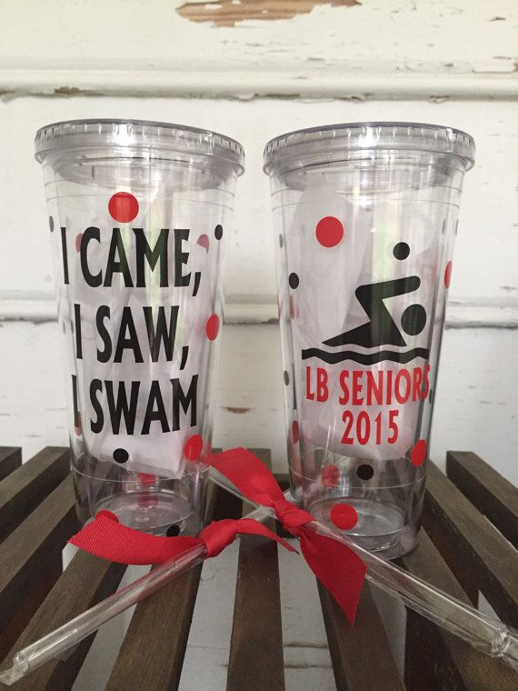 Swimming tumbler swim team cup awards for by PrettynPreppyDesigns