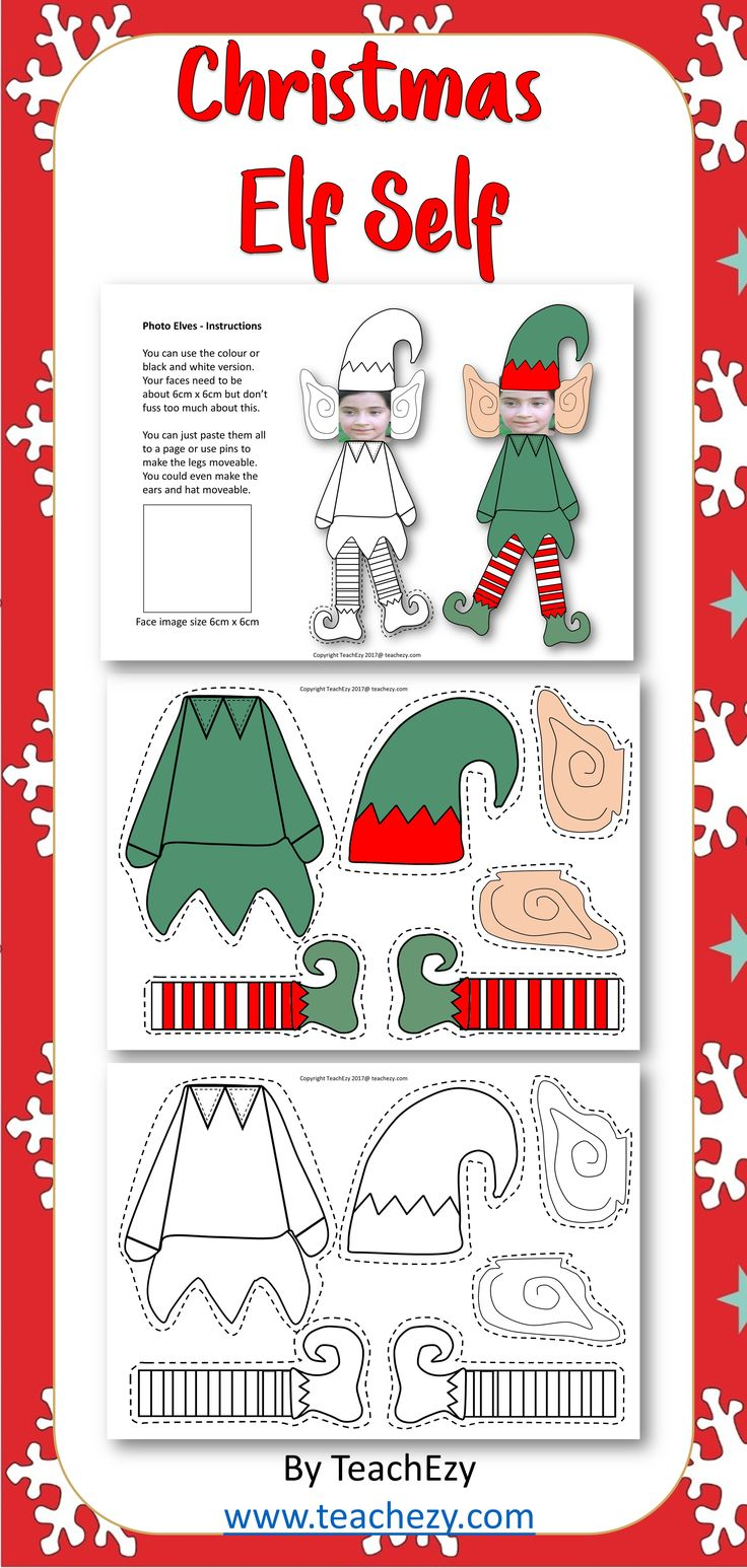 Christmas Elf Self. Create your own elf with your face. Free for members of TeachEzy or TeachEzy Early Childhood. Also available as part of the Christmas Pack Preschool to Year 2 found in our SHOP on TeachEzy or you will find it in store on TPT.