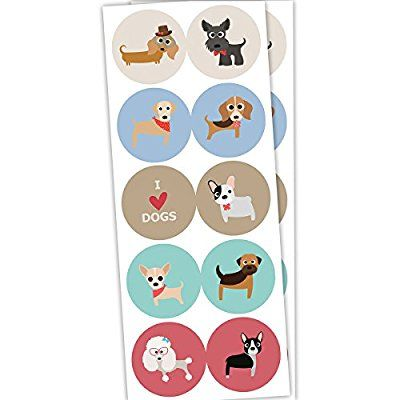 40 Dog Stickers 2 inches - Red Fox Tail