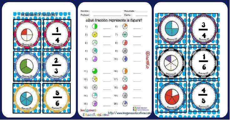 Súper memorama de Fracciones Es un memorama excelente para reafirmar las sumas de fracciones en nuestros alumnos, una manera divertida de aprender, gracias a los juegos los niños se divierten y aprenden, con este...