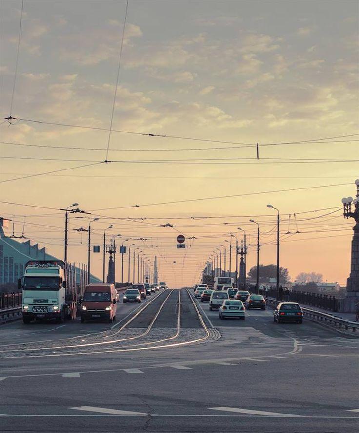 Early morning on the Stone Bridge of Riga.