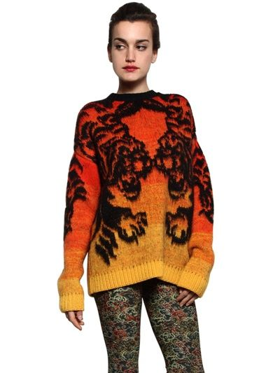 JUST CAVALLI - TIGER JACQUARD KNIT SWEATER