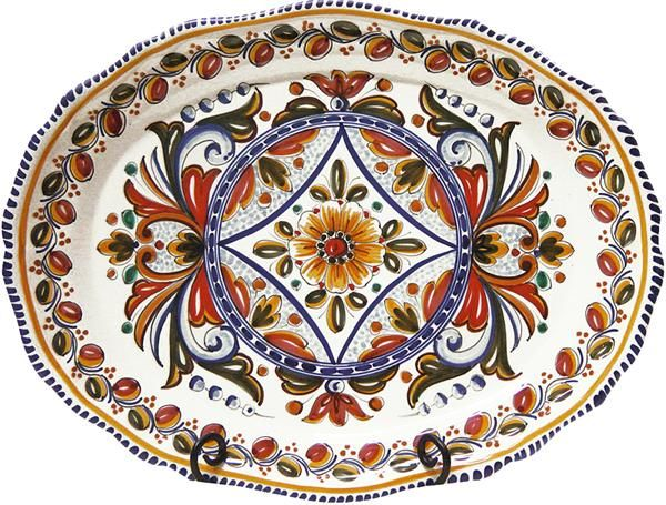 Hand-painted ceramic serving platter from Spain