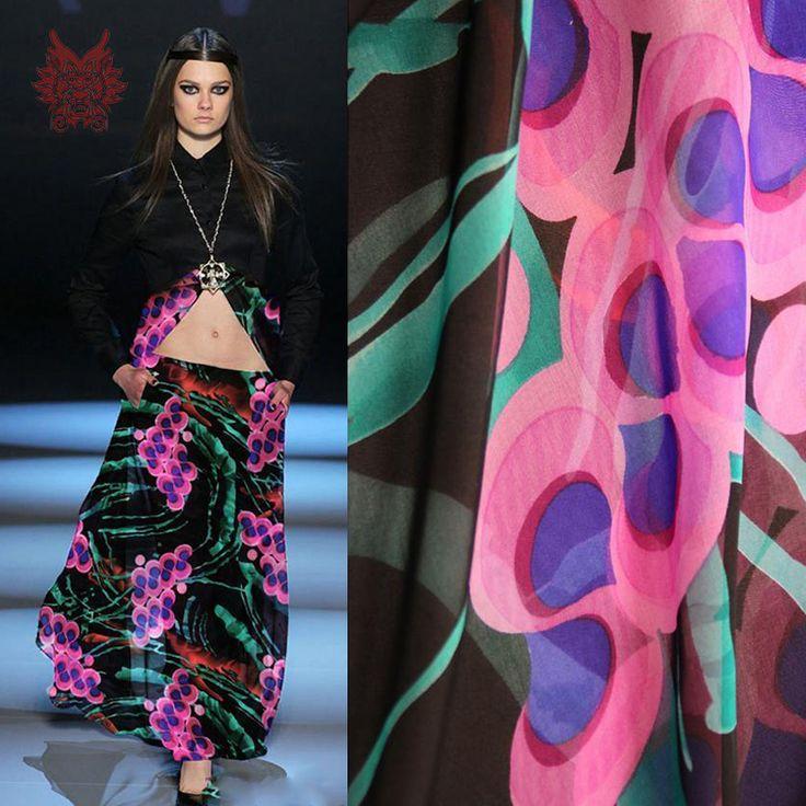 Дизайнер элегантный красный цветочный принт 100% шёлк шифоновая ткань для весна / лето платье / рубашка 6 мм SP2072