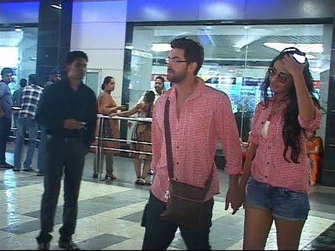 Neil Nitin Mukesh and Sonal Chauhan seen together at Mumbai Airport.