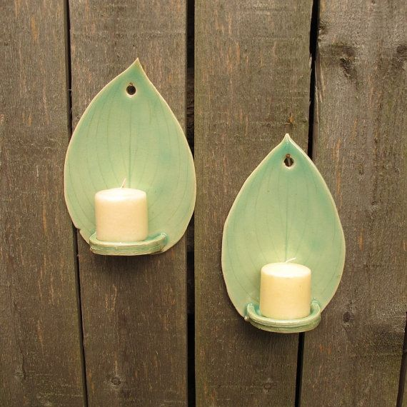 Hanging wall sconces for candles awesome awesome golden varnished finest handbuilt hosta leaf petite claypottery wall hanging tealight candle sconces holders in light green celadon set of with hanging wall sconces for aloadofball Image collections