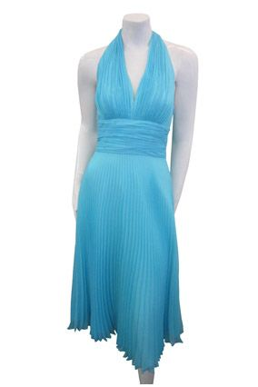 Bridesmaids - Blue Chiffon Dress  The halter neckline and accordion pleats of this sea blue dress give it a strong vintage vibe. Its high waist and full skirt provide the opportunity for lots of high-quality twirling on the dance floor.  $99; Donna-Morgan.com