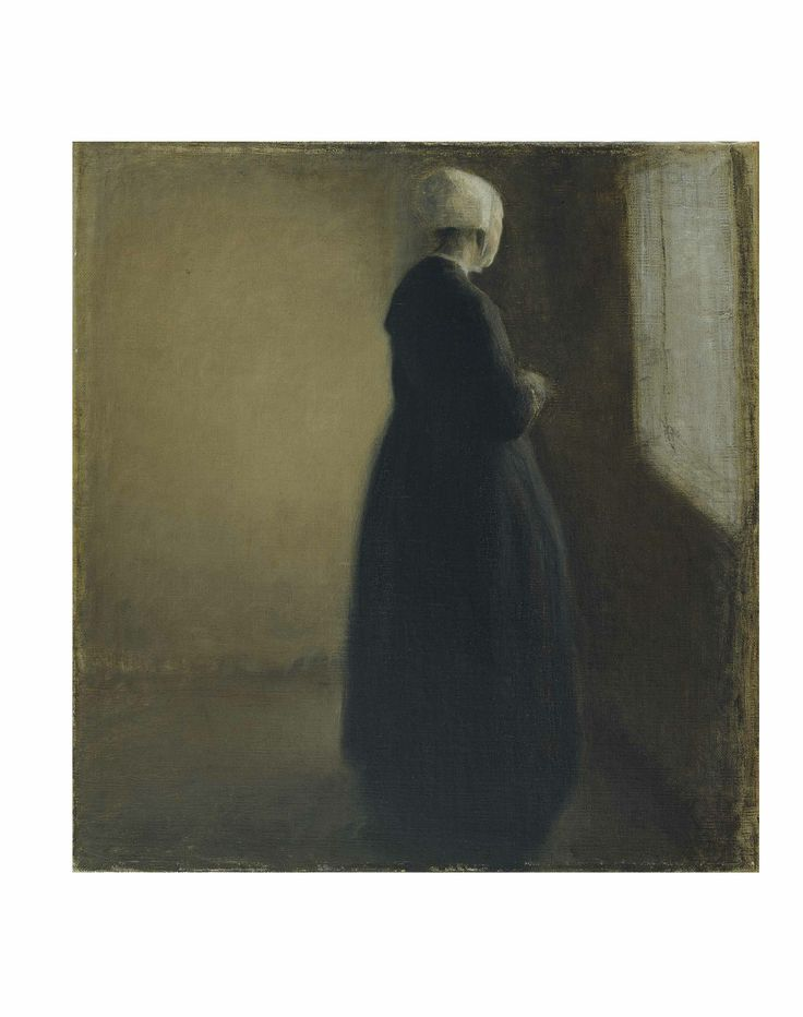 Vilhelm Hammershøi: An old lady standing by a window, 1885. The Hirschsprung Collection