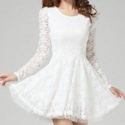 Ladylike Style Solid Color Lace Scoop Neck Long Sleeves Beam Waist Dress For Women