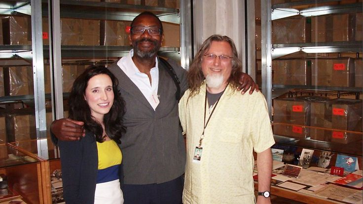 Lenny Henry (centre) with the Time Capsule team from the Andy Warhol Museum