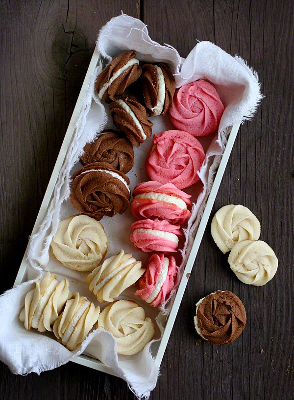 "Neopolitan rose spritz cookies with marshmallow buttercream. ""So good...buttery and light."""