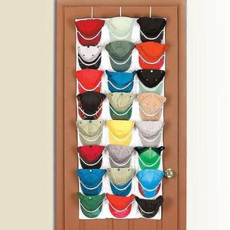 Overdoor Cap Baseball Hat Organizer Rack Holder Easy Access Displays 24 Caps
