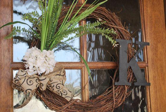Everyday Wreath - Grapevine Wreath with Burlap Hydrangea, Burlap Scroll Ribbon, Greenery and Monogram