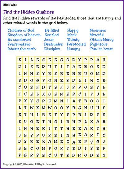 Find a Word on the Beatitudes for Older Children - Kids Korner - BibleWise