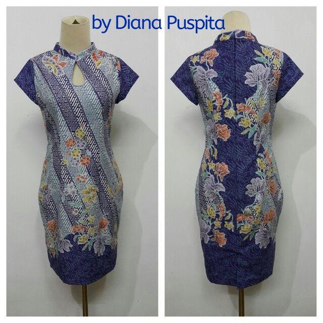 Blue cheongsam dress by diana puspita. Instagram: bydianapuspita (Using batik pekalongan)